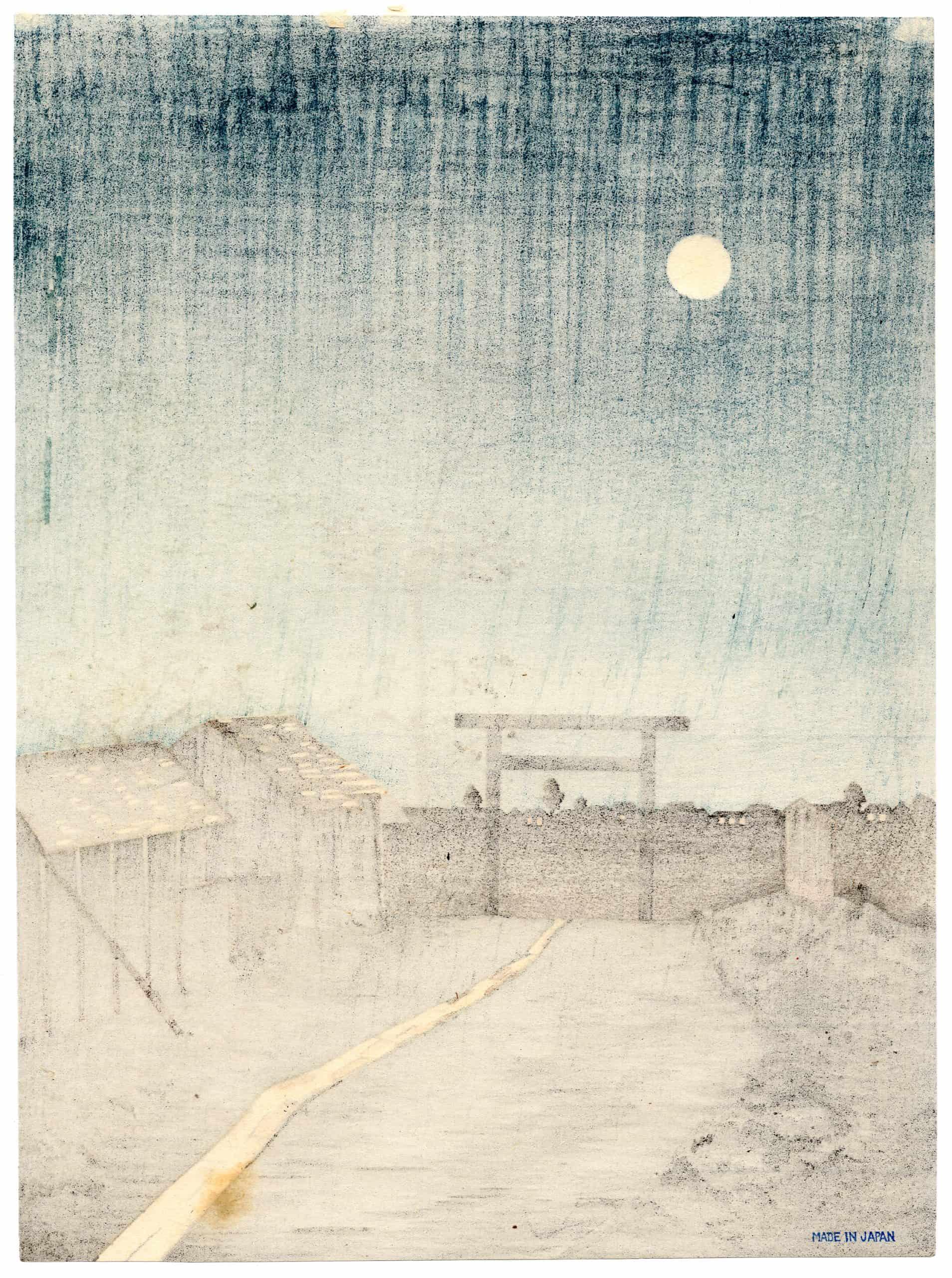 Kobayashi Kiyochika - Taro-inari Shrine at Asakusa (verso)