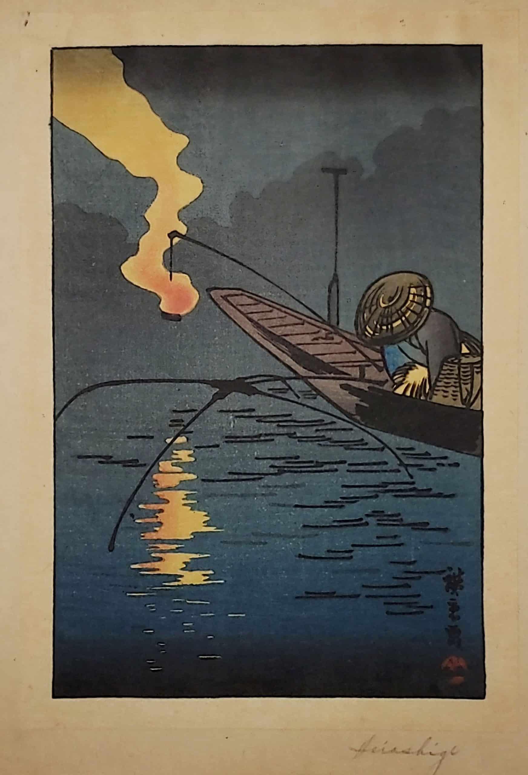 Utagawa Hiroshige - Fisher and Fire (full size)