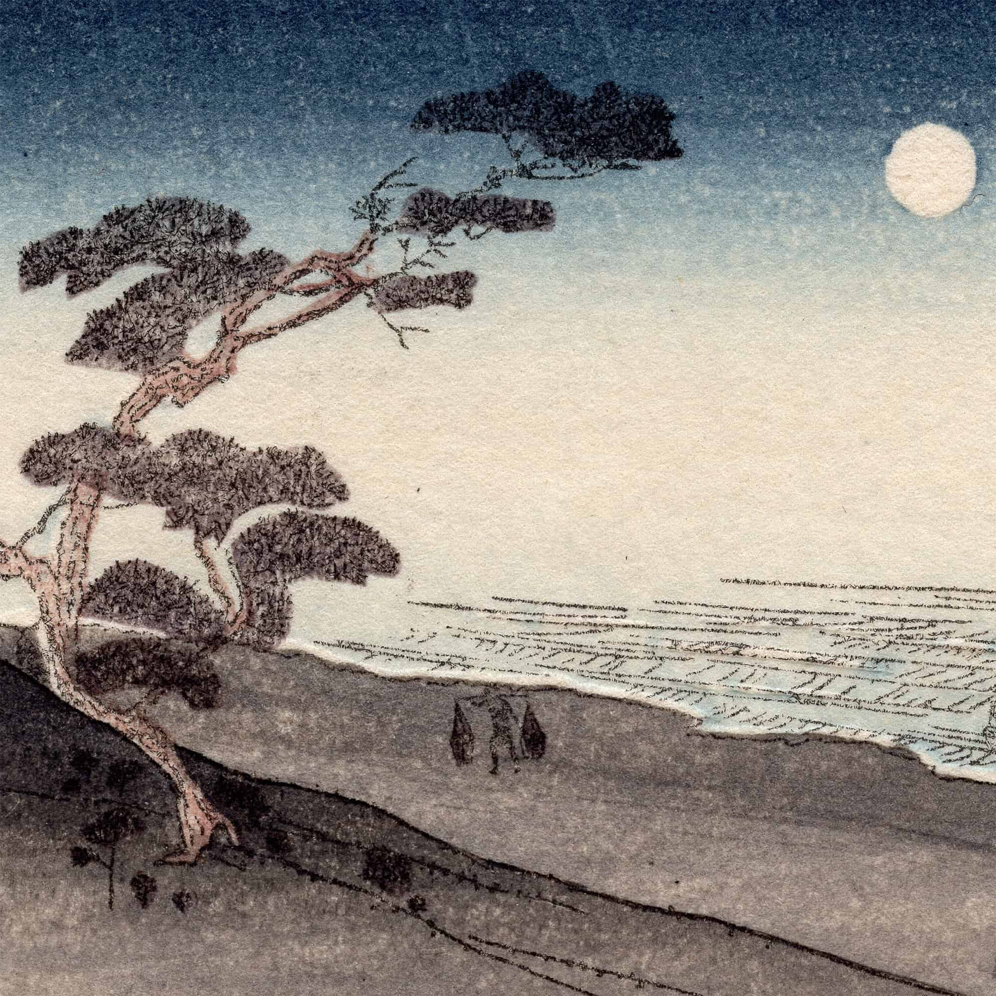 Utagawa Hiroshige - Suma Beach at Night (greeting card) (featured)