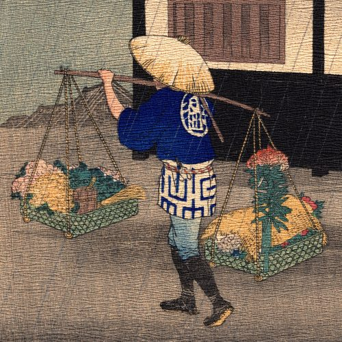 Hiroaki Takahashi (Shotei) – Flower Seller on a Rainy Day (chirimen-gami-e) (featured)