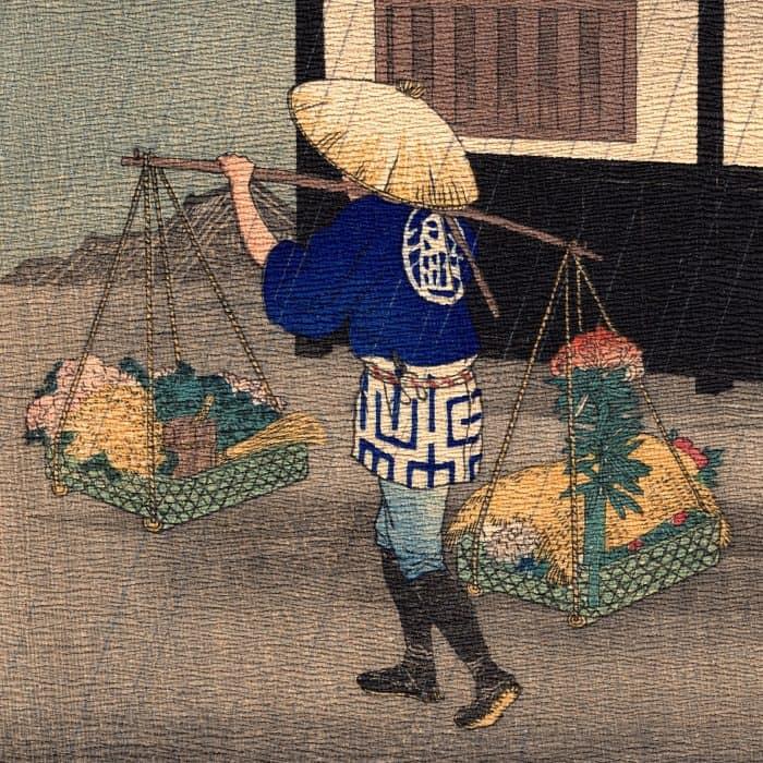 Hiroaki Takahashi (Shotei) – Flower Seller on a Rainy Day (chirimen-gami-e) (featured)