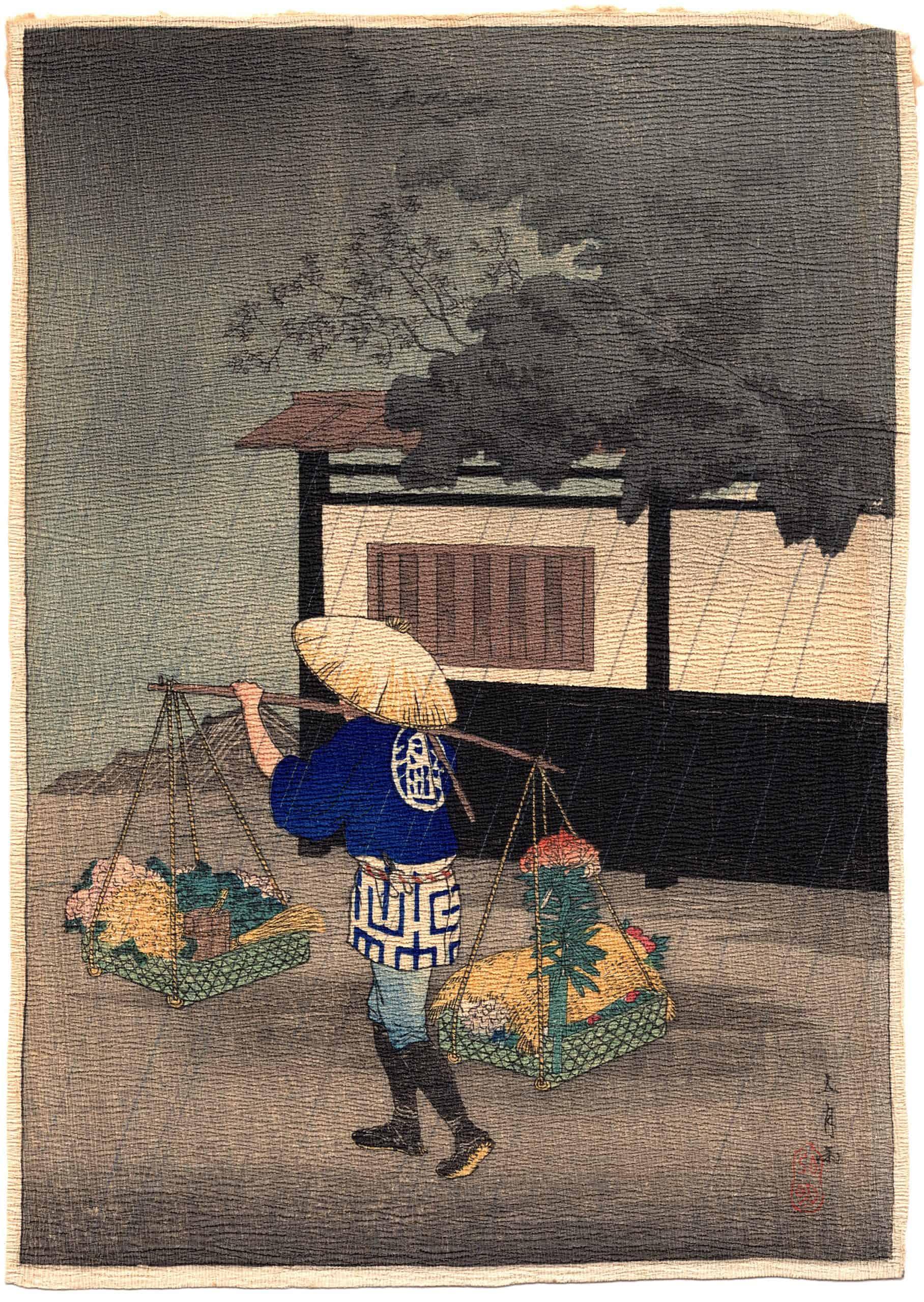 Hiroaki Takahashi (Shotei) – Flower Seller on a Rainy Day (chirimen-gami-e) (front)