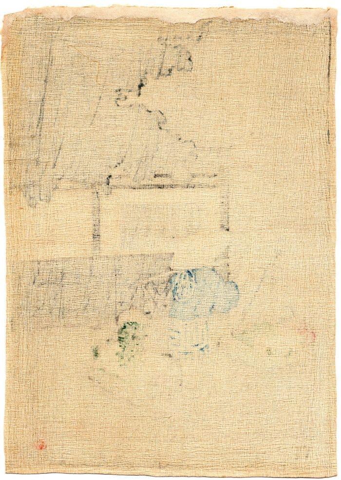 Hiroaki Takahashi (Shotei) – Flower Seller on a Rainy Day (chirimen-gami-e) (verso)