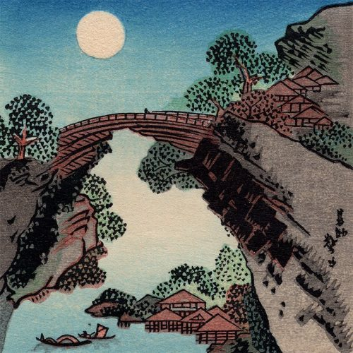 Katsushika Hokusai - Bridge and the Moon (featured)