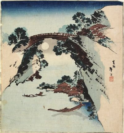 Katsushika Hokusai - Moon Underneath the Bridge
