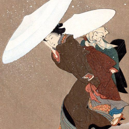Kitagawa Fujimaro - Two Beauties in Falling Snow (featured)