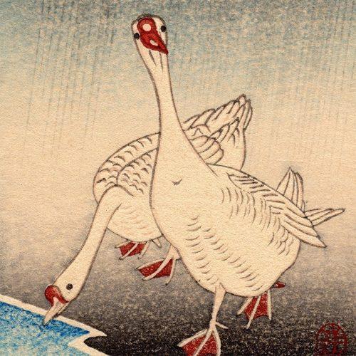 Koson Ohara - Geese in Rain (featured)