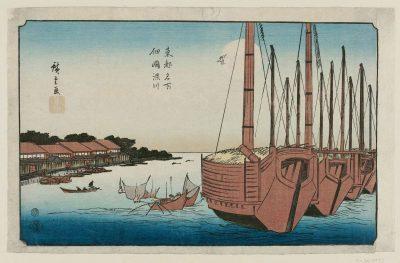 """Tsukudajima and Fukagawa (Tsukudajima Fukagawa)"", from the series ""Famous Places in the Eastern Capital"" (Tôto meisho) by Hiroshige"