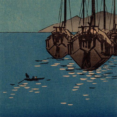 Utagawa Hiroshige - Boats in Moonlight (featured)