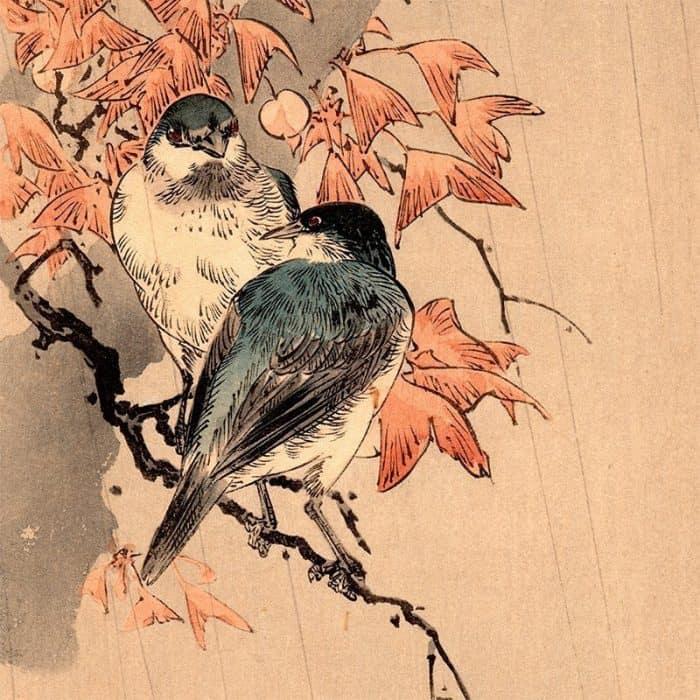 Yoshimoto Gesso - Bluebirds in Rain (featured)