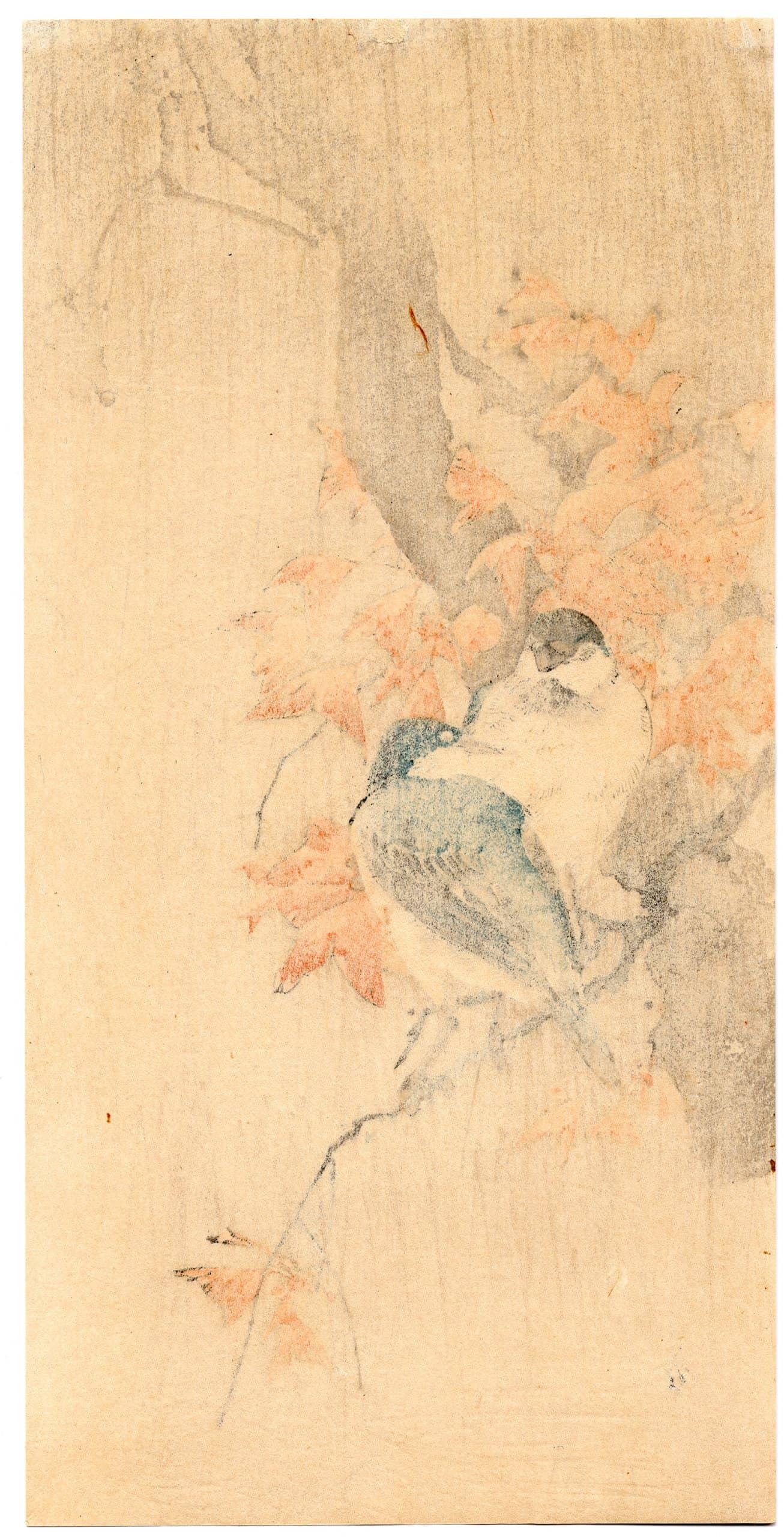 Yoshimoto Gesso - Bluebirds in Rain (verso)