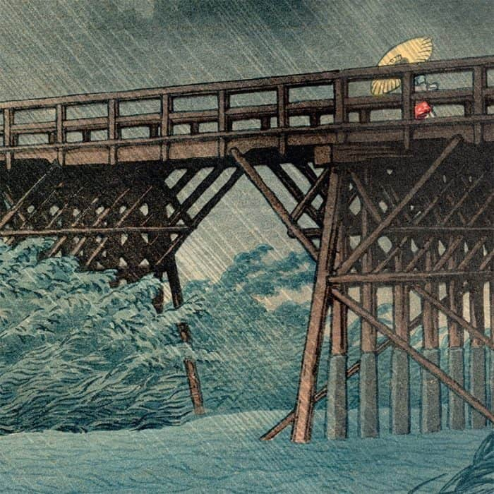 Kawese Hasui - Evening Shower at Imai Bridge (featured)