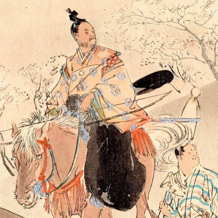 Ogata Gekkō - Samurai and Cherry Blossoms (featured)
