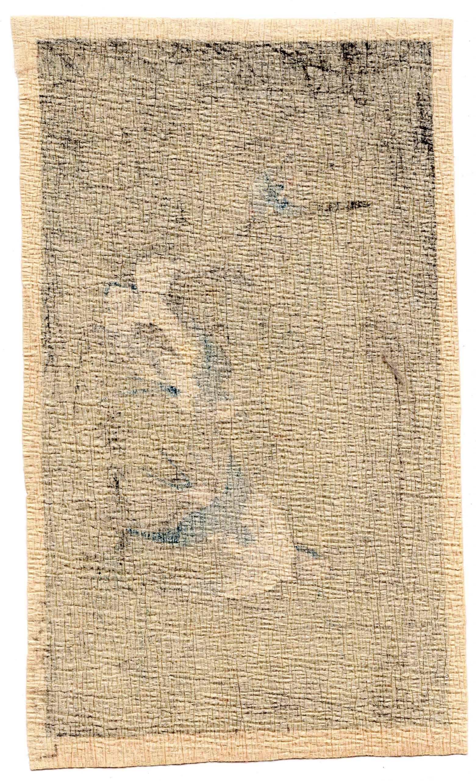 Unknown - Five Bluebirds (chirimen gami-e) (verso)