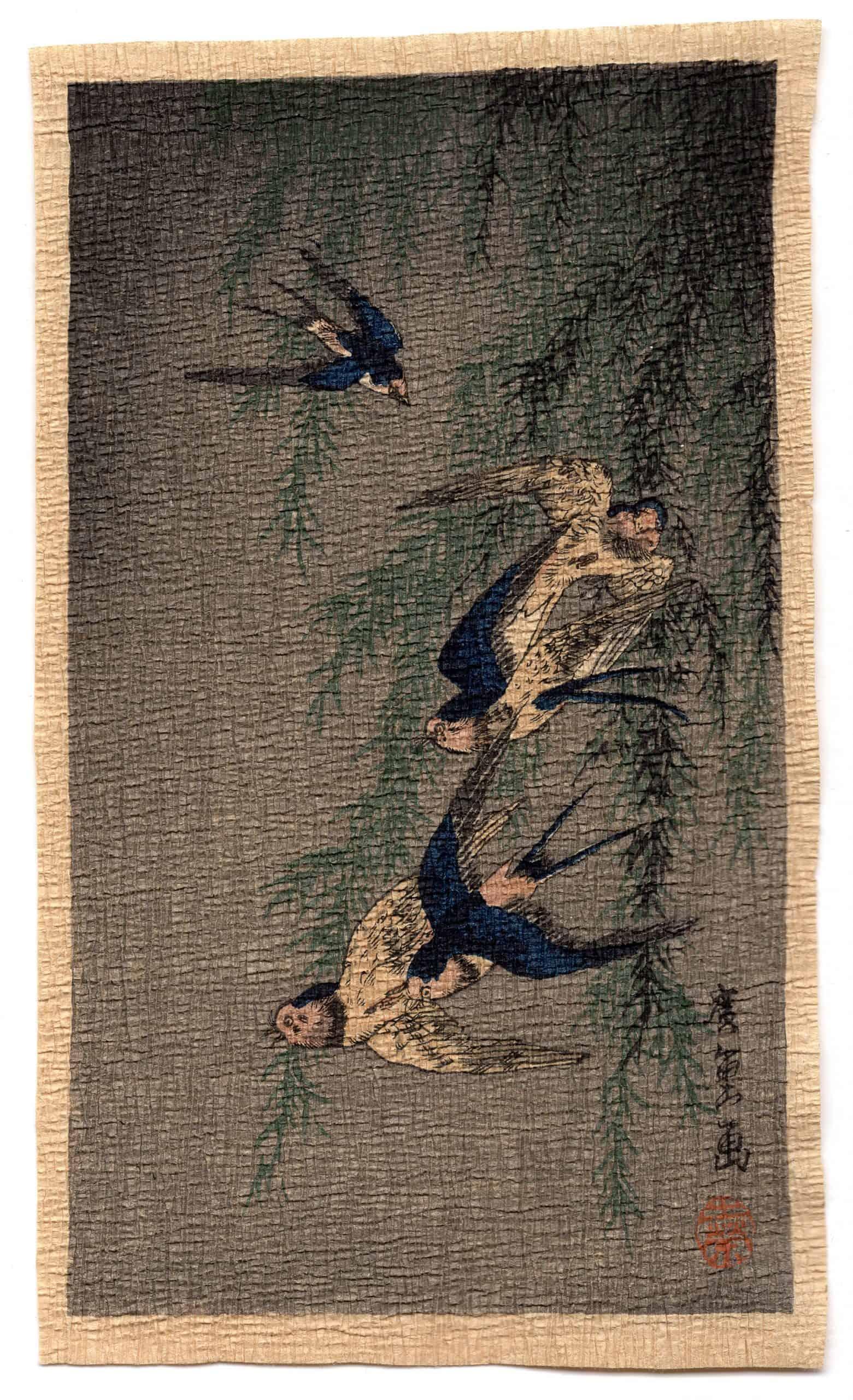 Unknown - Five Bluebirds (chirimen gami-e)