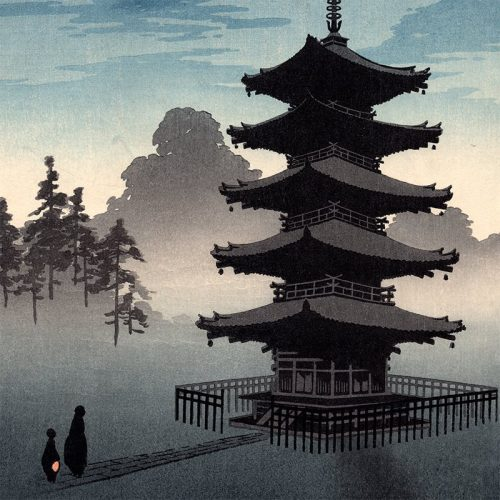 Eijiro Kobayashi - A Pagoda by Moonlight (featured)