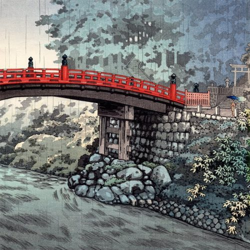 Tsuchiya Koitsu – Sacred Bridge of the Nikko Shrine on a Rainy Autumn Day (featured)