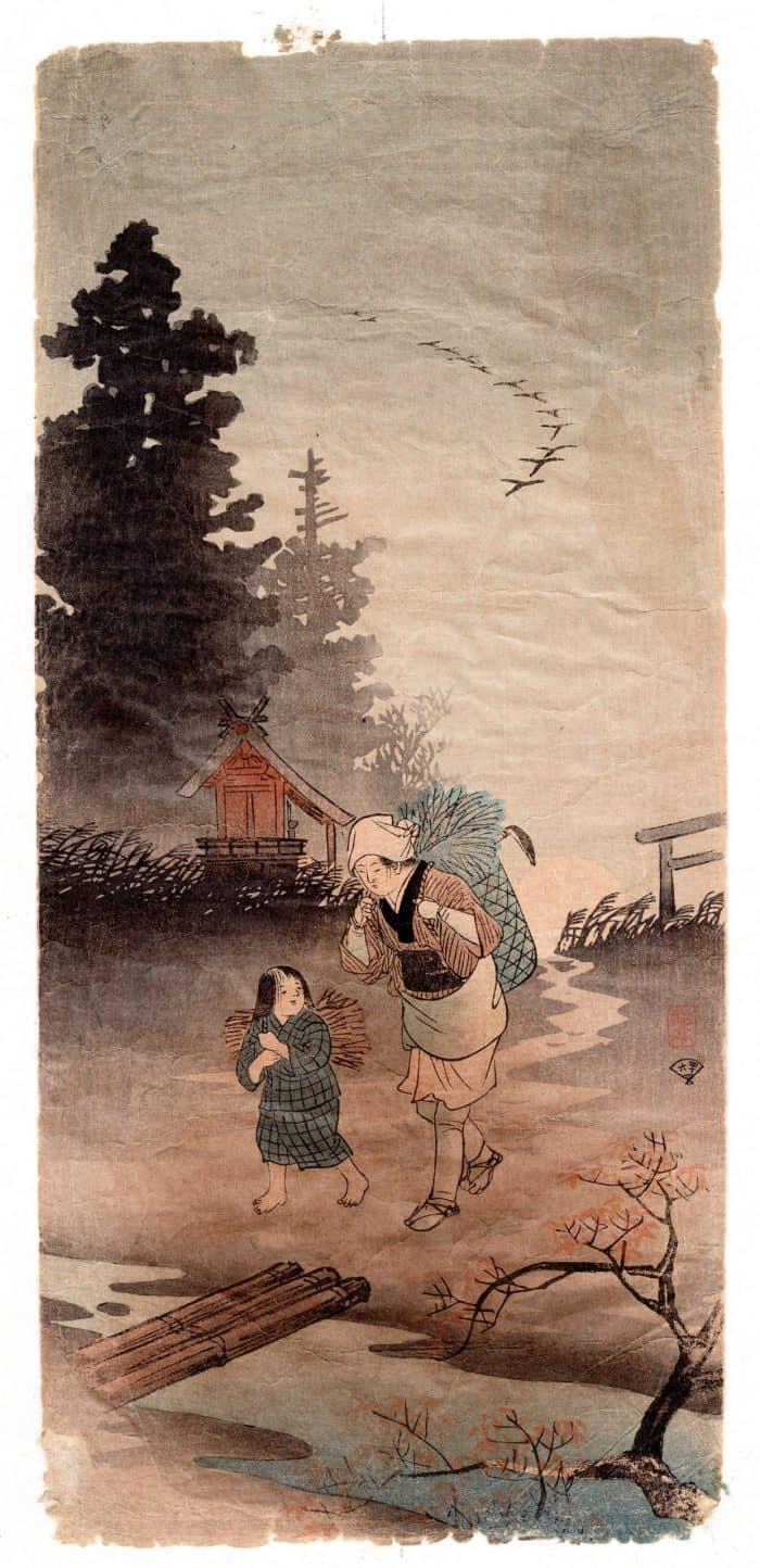 Hiroaki Takahashi (Shotei) - Returning woman in an autumn evening