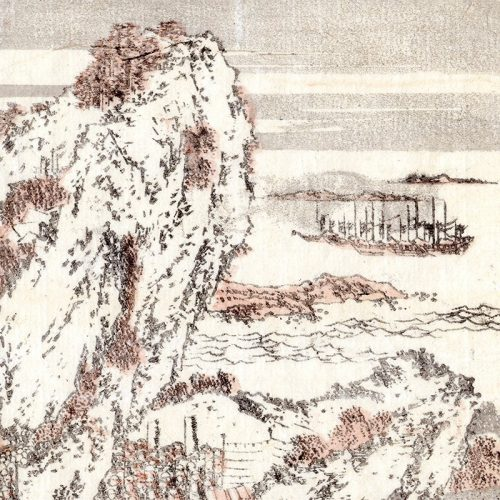 Katsushika Hokusai - Battle Scene landscape from Hokusai manga (featured)