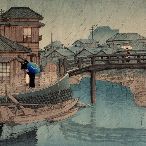 Kawase Hasui - Rain at Shinagawa (featured)
