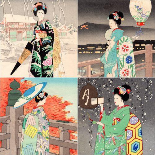 Sadanobu Hasegawa III - Four Seasons of Kyoto Geisha Girls