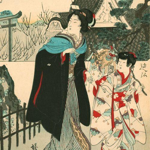 Toyohara Chikanobu - Parody of the Twelve Animals of the Chinese Zodiac: The Hare, Myogi-sha Shrine, Kameido (featured)