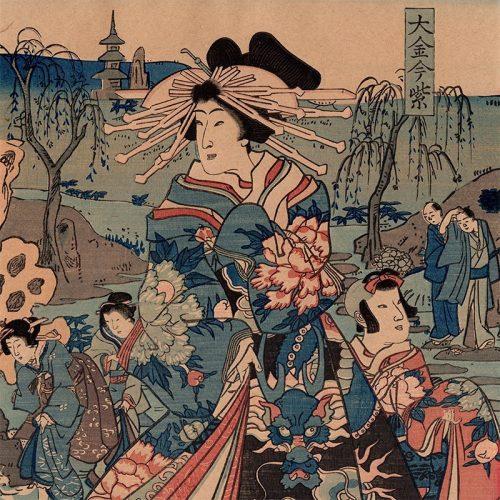 Toyohara Kunichika - Courtesan with a Dragon Obi (featured)