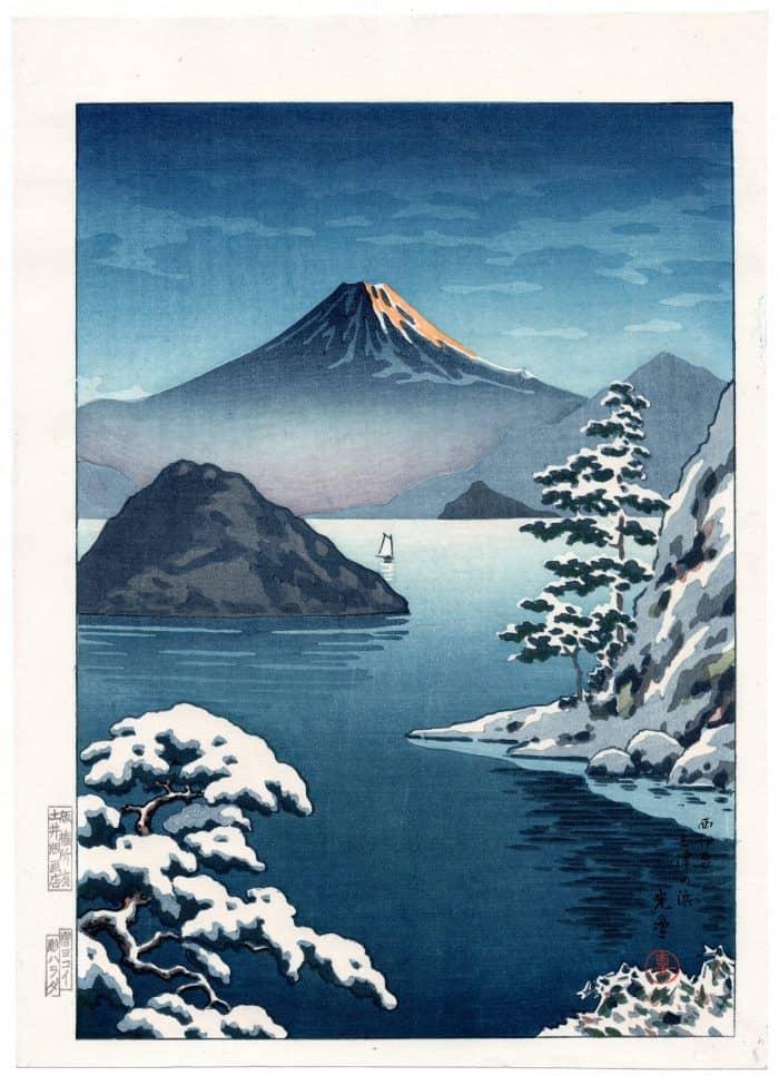 Tsuchiya Koitsu - Fuji from Mitsuhama (Mito) in Snow
