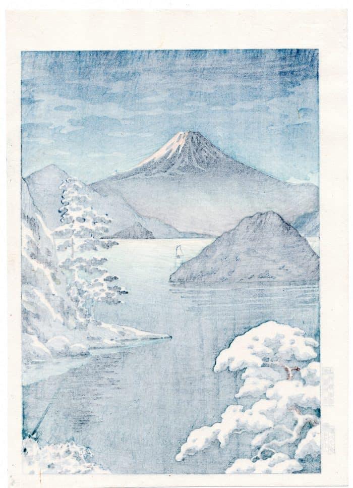 Tsuchiya Koitsu - Fuji from Mitsuhama (Mito) in Snow (verso)