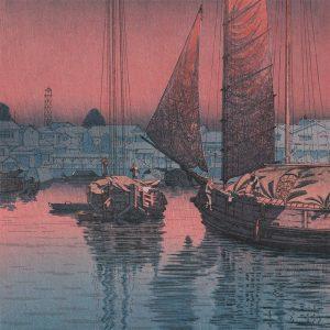 Tsuchiya Koitsu - Sunset at Tomonotsu, Inland Sea (featured)