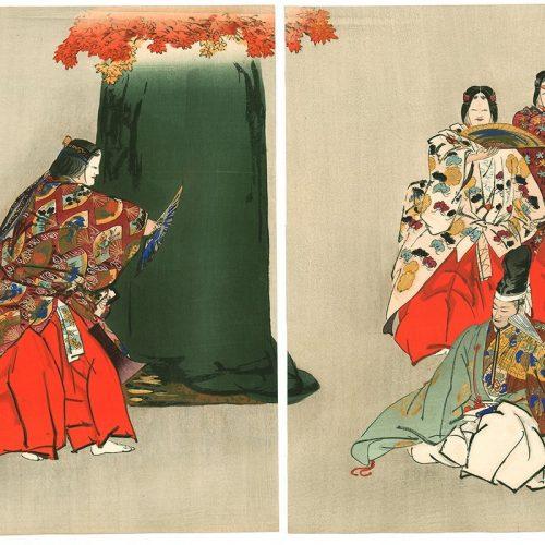 "Tsukioka Kogyo - Red Maple Hunting (""Momijigari"" from ""Noh Gaku Hyaku Ban"") (featured)"