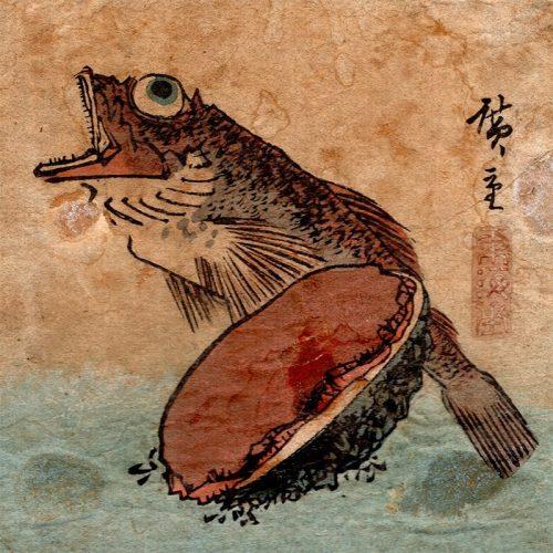 Utagawa Hiroshige - Abalone and Fish from Harimaze Print (featured)