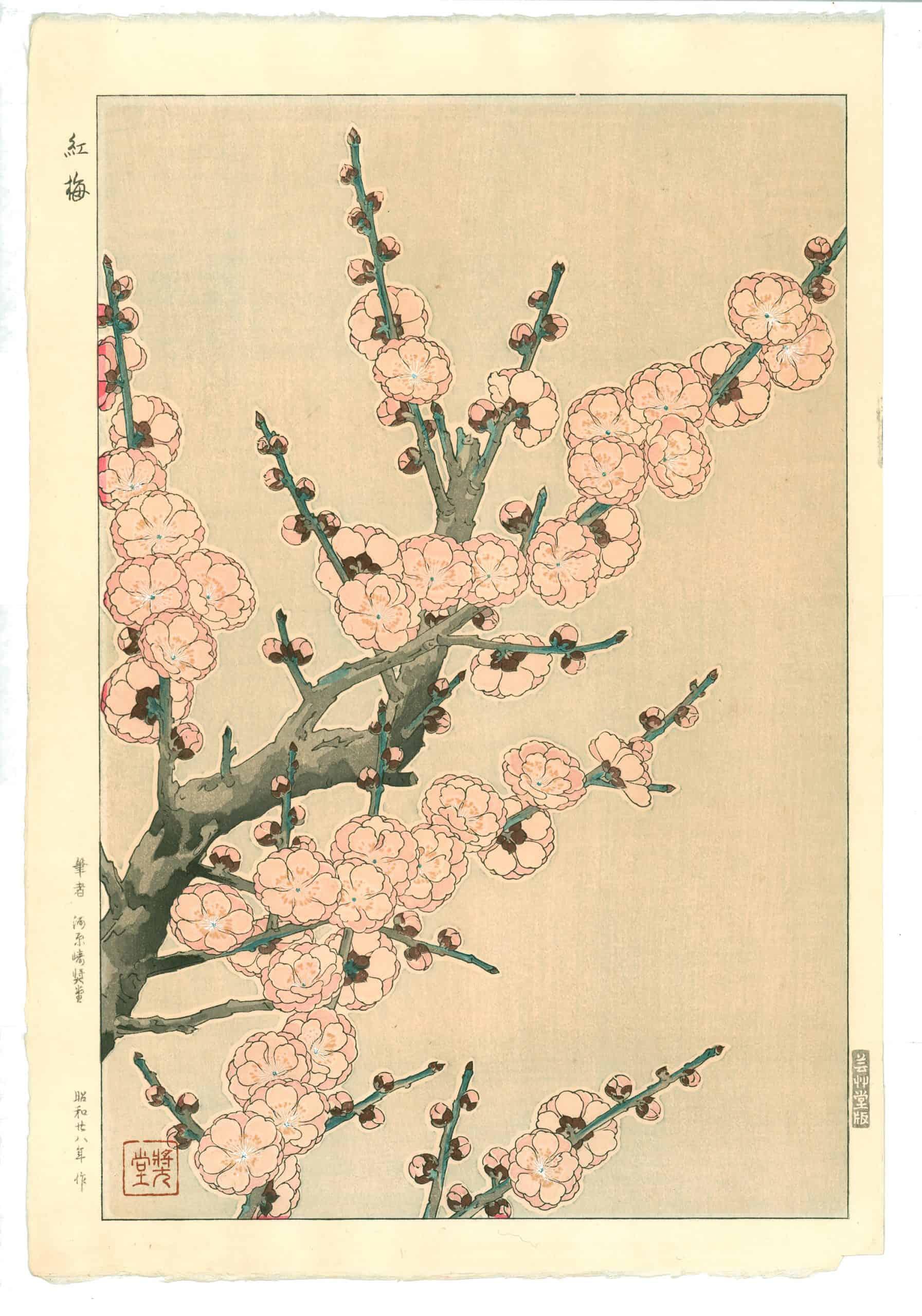 Kawarazaki Shodo - Red Plum Blossoms