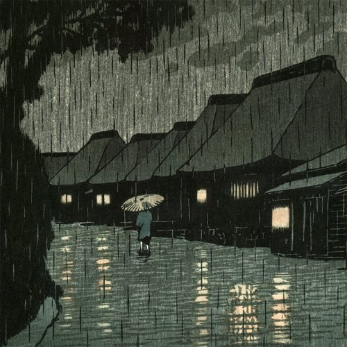 Kawase Hasui - Rain at Maekawa (Selected Views of the Tôkaidô Road) (featured)