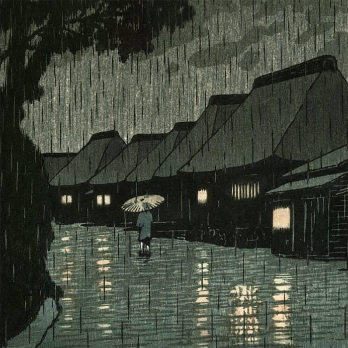 Kawase Hasui - Rain at Maekawa (Selected Views of the Tôkaidô Road) (featured)