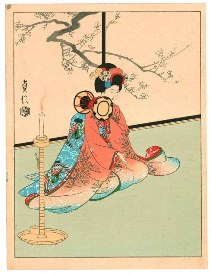 Sadanobu Hasegawa III - Kyo-Maiko - Girl Playing Hand-Drum