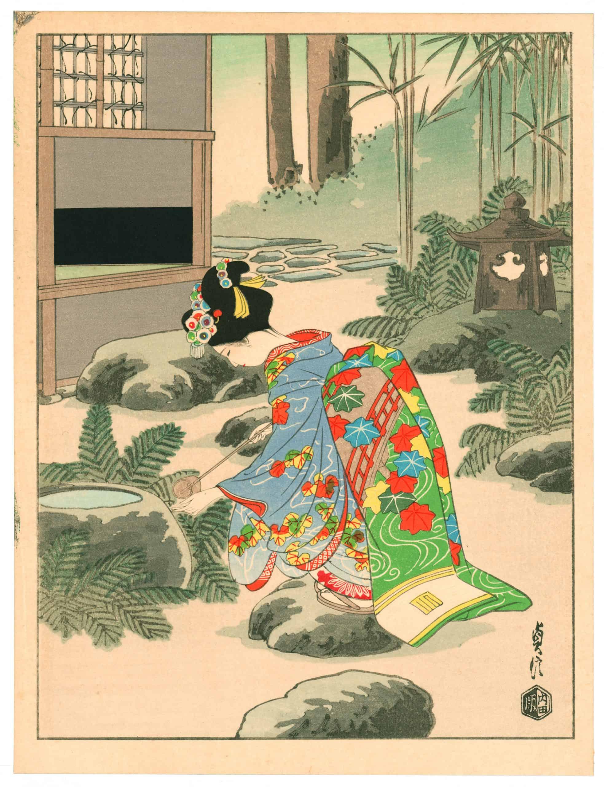 Sadanobu Hasegawa III - Kyo-Maiko - Girl Washing Hands