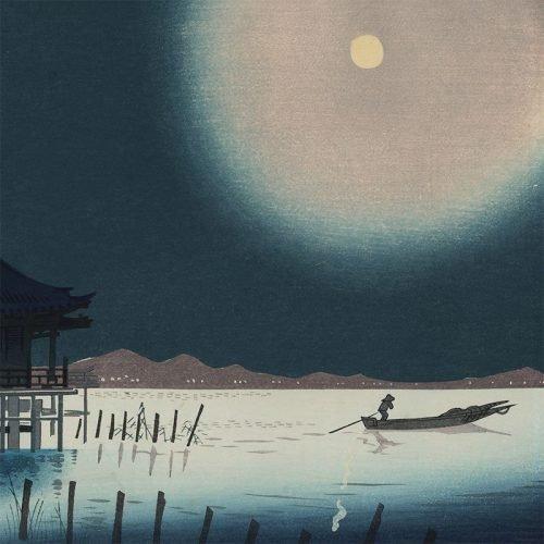 Tomikichiro Tokuriki - Biwa Lake at Night (in Blue) (featured)