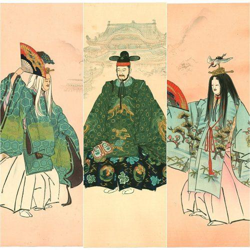"Tsukioka Kogyo - Tsuru Kame (Crane and Turtle in the Moon Palace), from the series ""One Hundred Noh Dramas (Nogaku hyakuban)"" (featured)"