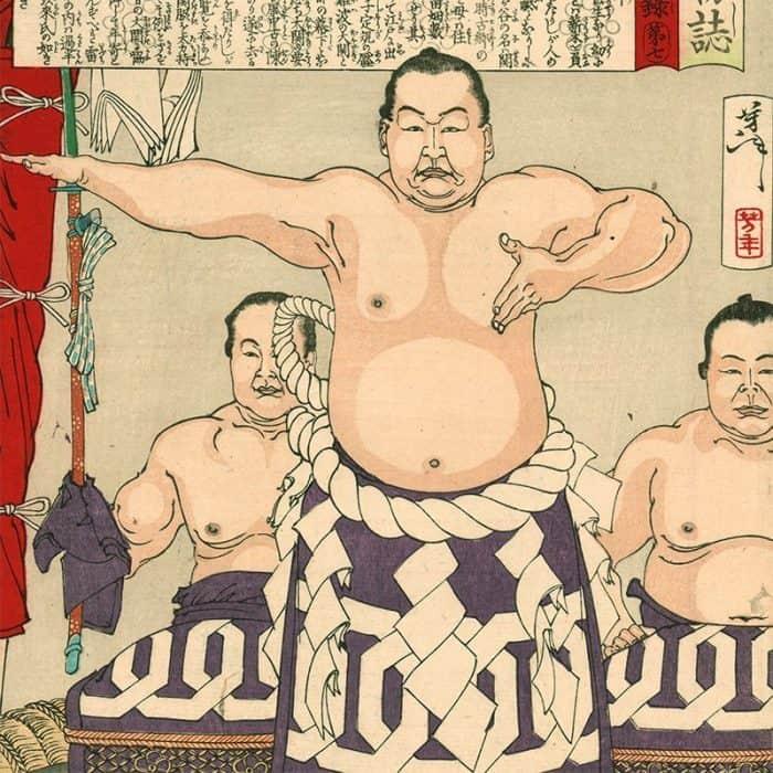 Tsukioka Yoshitoshi - The Sumo Wrestler Umegatani Totaro (featured)