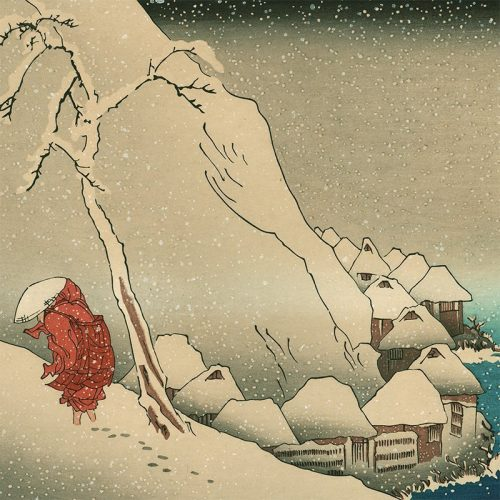 Utagawa Kuniyoshi - Nichiren in the Snow at Tsukahara on Sado Island (featured)