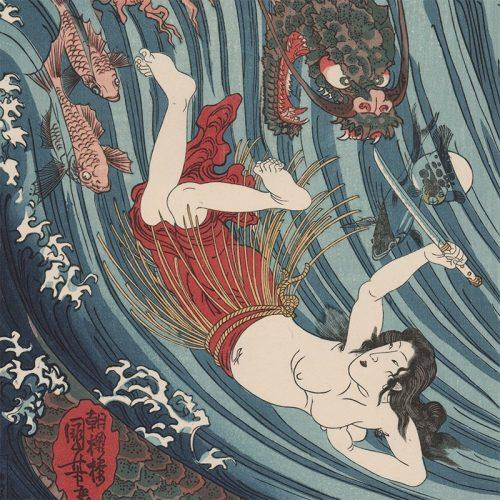 Utagawa Kuniyoshi - Tamatori's Escape from Ryujin and His Sea Creatures (featured)