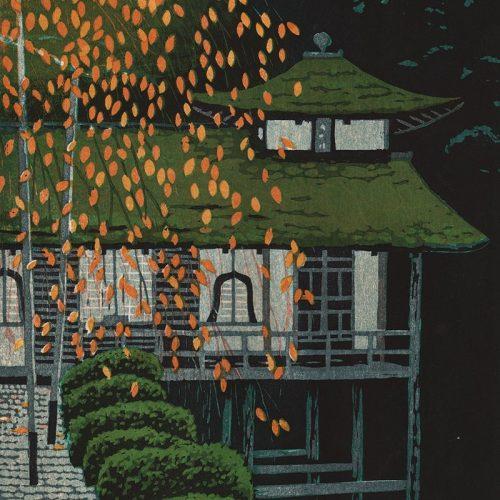 Shiro Kasamatsu - Golden Leaves of Cherry Tree at Joshokoji Temple (featured)