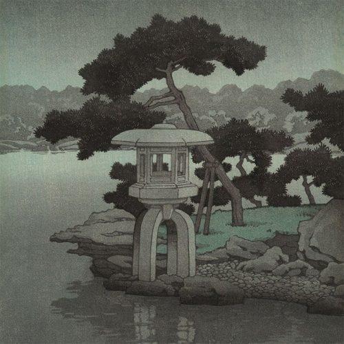Kawase Hasui - Moon Over Kiyosumi Garden (featured)