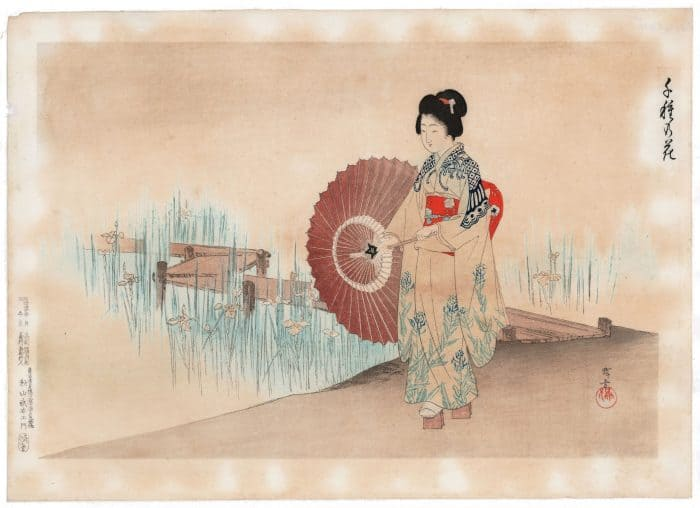 Terukata Ikeda - Woman in an Iris Garden, from One Thousand Types of Flowers
