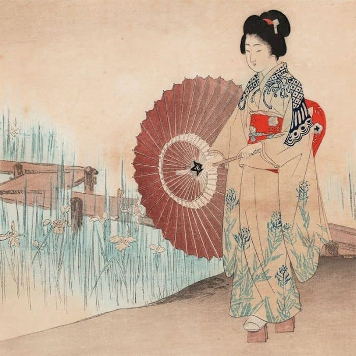 Terukata Ikeda - Woman in an Iris Garden, from One Thousand Types of Flowers (featured)