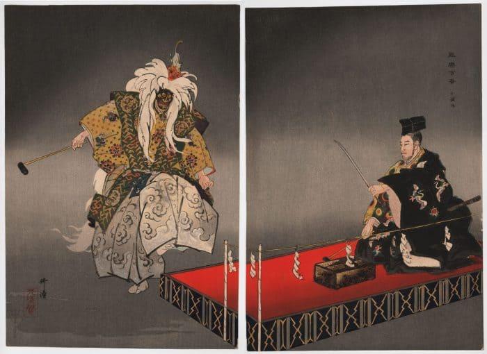 Tsukioka Kogyo - Kokaji (The Swordsmith) (diptych) (complete diptych)