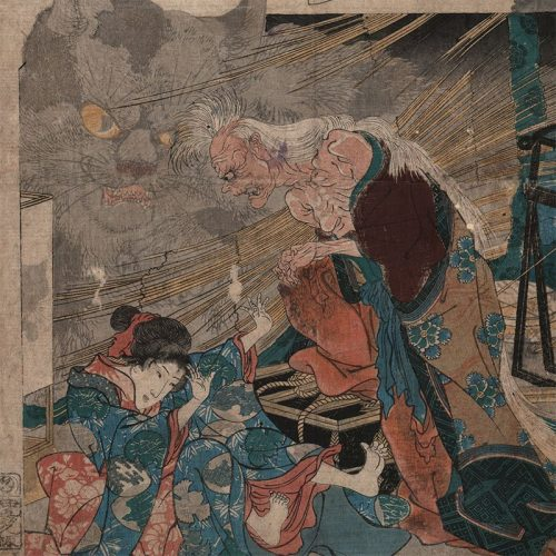 Utagawa Kuniyoshi - Okabe: The Story of the Cat Stone, from the series Fifty-three Pairings for the Tôkaidô Road (Tôkaidô gojûsan tsui) (featured)