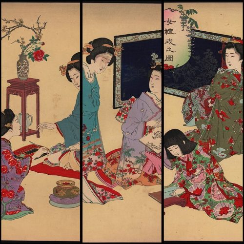 Adachi Ginkō - Reading and Writing, triptych from the series Women's Etiquette (featured)
