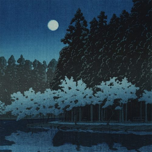 Kawase Hasui - Spring Night at Inokashira (featured)